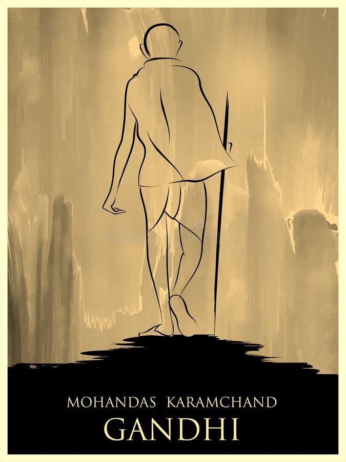 De achtergrond van India met Natieheld en Vrijheidsvechter Mahatma Gandhi voor Onafhankelijkheidsdag of Gandhi Jayanti royalty-vrije illustratie