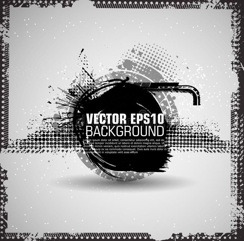 De achtergrond van de inktplons Zwarte Verf Geploeterde Vorm Van Achtergrond grunge textuur Vectornoodachtergrond gebarsten stock illustratie