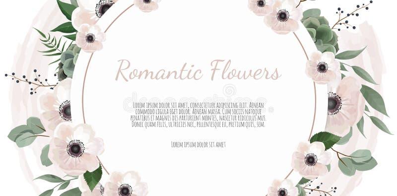 De achtergrond van de kadergrens Bloemenhuwelijkskaart met roze, anemoon en eucalyptustak royalty-vrije illustratie