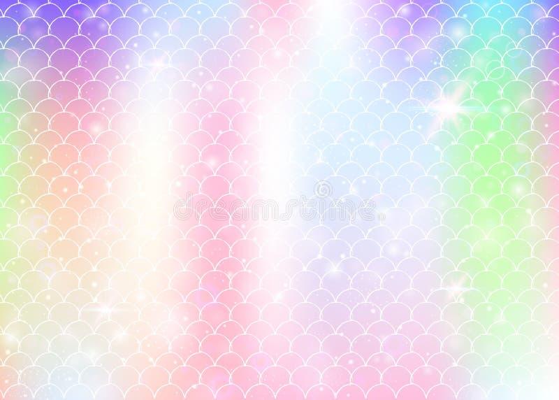 De achtergrond van de Kawaiimeermin met de schalenpatroon van de prinsesregenboog vector illustratie