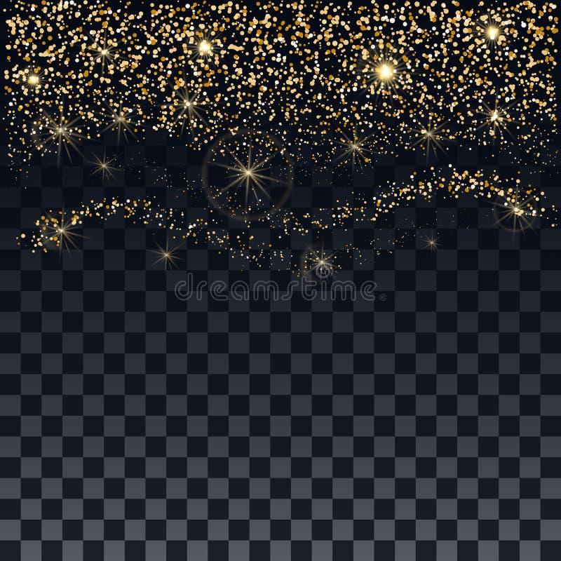De achtergrond van Kerstmis Chaotische dalende flikkerende deeltjes Briljante gouden confettien en sterren op een transparante ac royalty-vrije illustratie