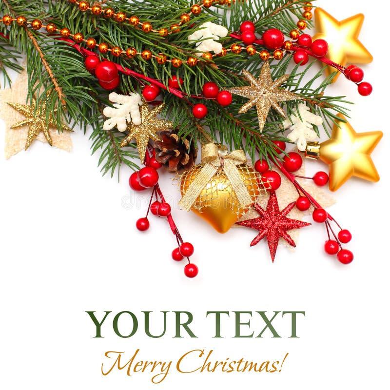 De achtergrond van Kerstmis - de boom van Kerstmis, gouden decoratie royalty-vrije stock afbeeldingen