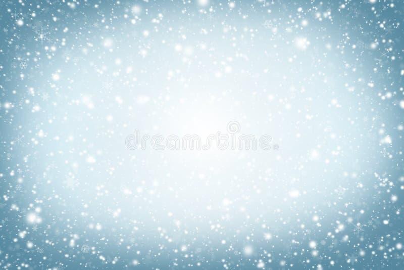 De achtergrond van Kerstmis De winterhemel, sneeuwvlokken en sterren royalty-vrije stock afbeeldingen