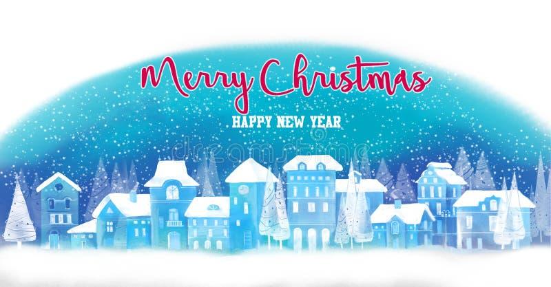 De achtergrond van Kerstmis De winterstad Stedelijk de winterlandschap Cityscape stock illustratie