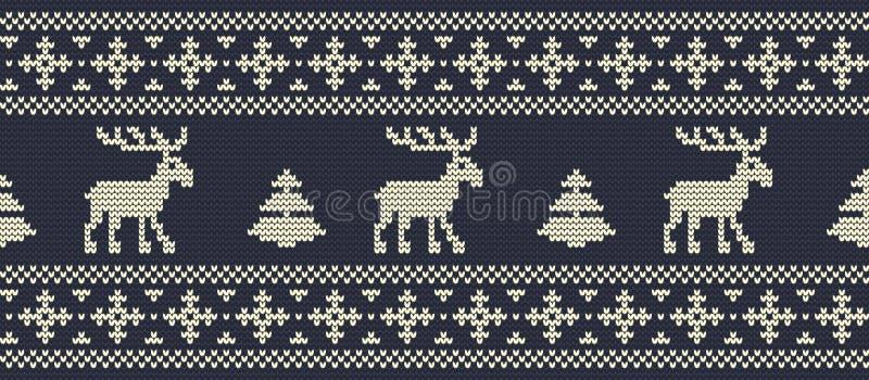 De achtergrond van Kerstmis Gebreid patroon met deers op een marineachtergrond stock illustratie