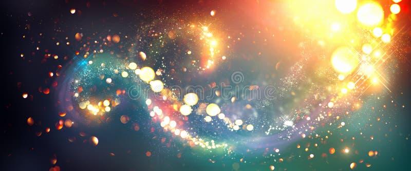 De achtergrond van Kerstmis Gouden schitterende sterrenwervelingen royalty-vrije illustratie