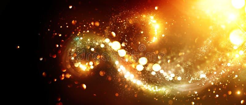 De achtergrond van Kerstmis Gouden schitterende sterrenwervelingen royalty-vrije stock afbeelding