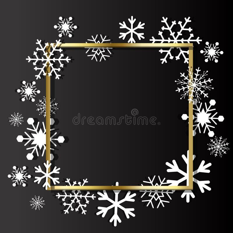 De achtergrond van Kerstmis Kader van sneeuwvlokken met ruimte voor tekst wordt gemaakt die royalty-vrije illustratie