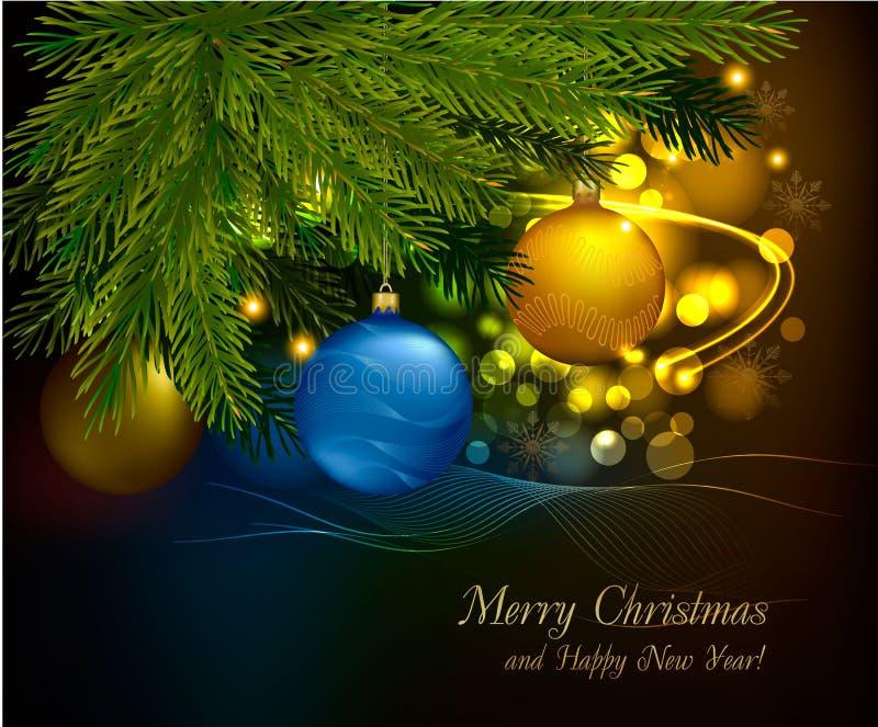 De achtergrond van Kerstmis met boom en ballen. Vector vector illustratie