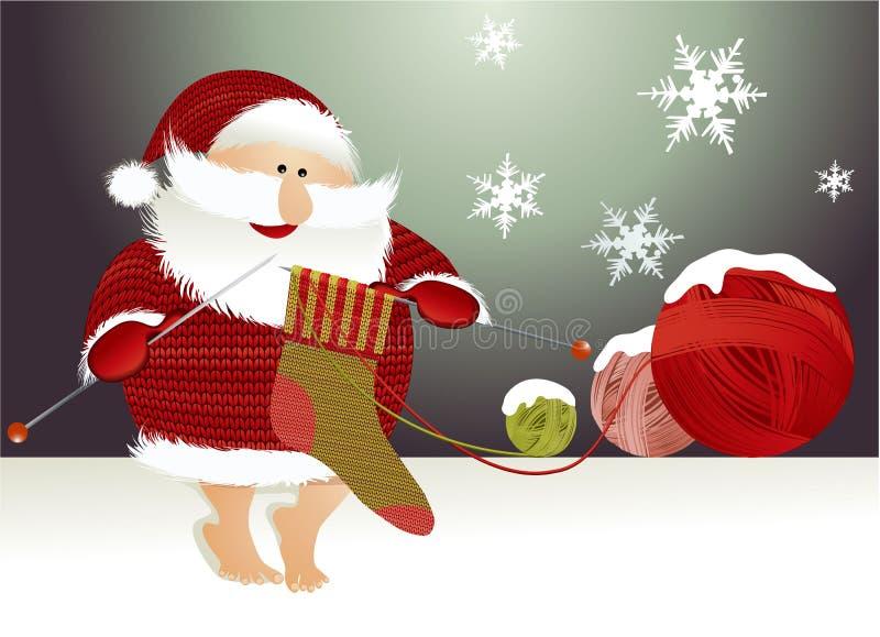 De achtergrond van Kerstmis met de Kerstman royalty-vrije illustratie