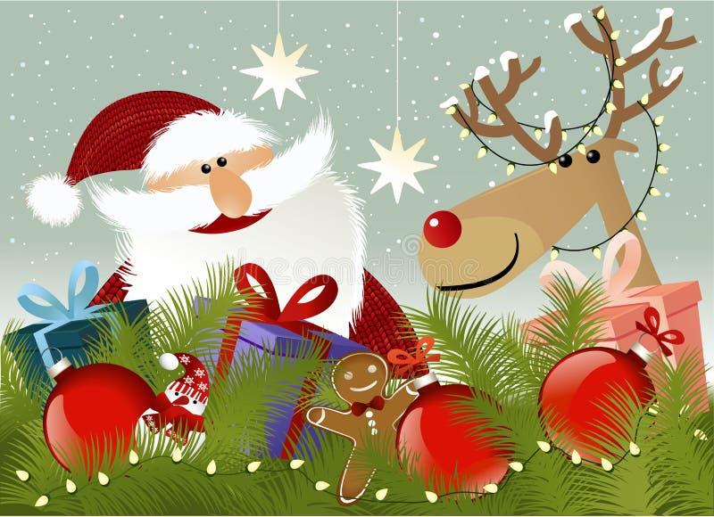 De achtergrond van Kerstmis met de Kerstman stock illustratie
