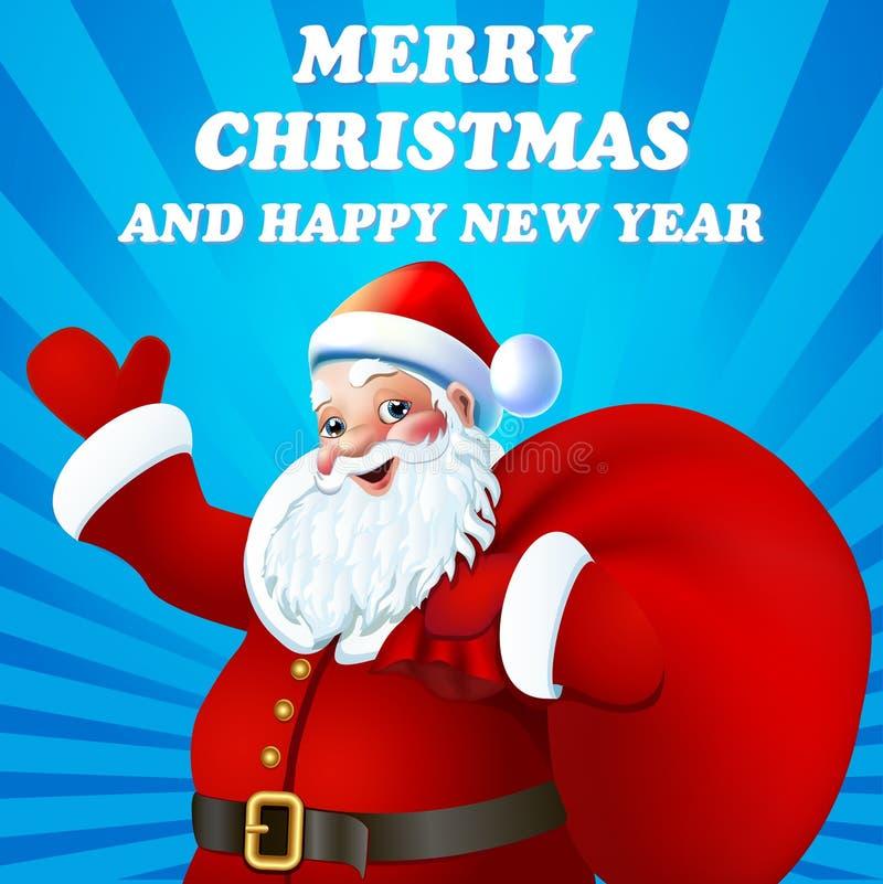 De achtergrond van Kerstmis met de Kerstman vector illustratie