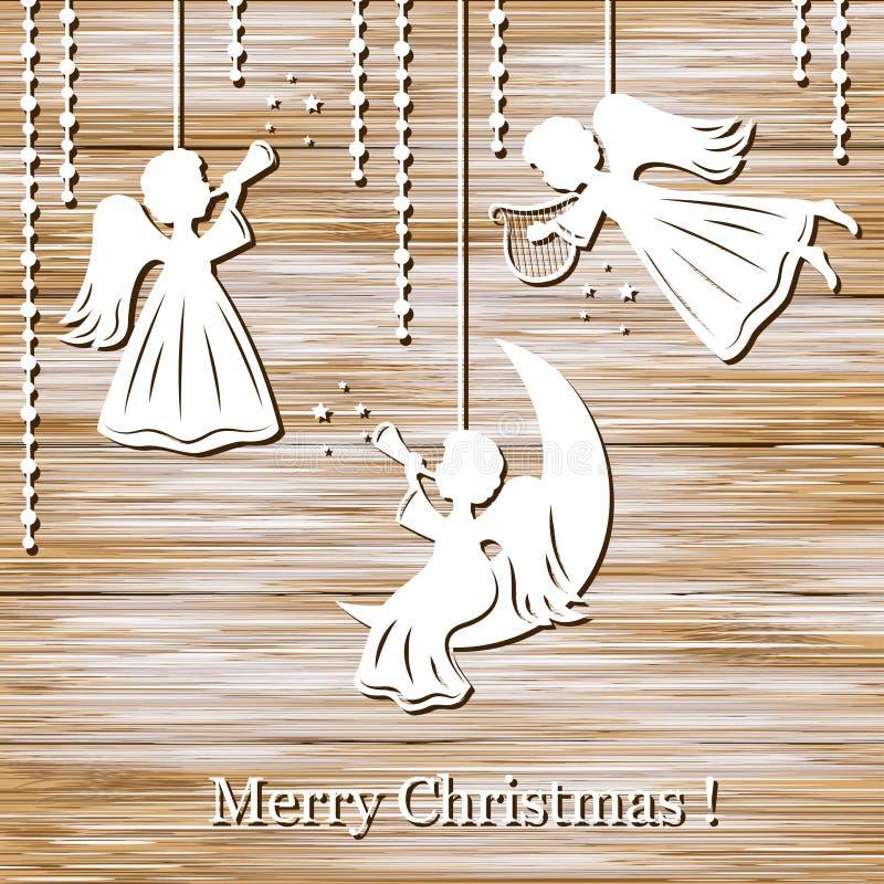 De achtergrond van Kerstmis met engelen stock illustratie