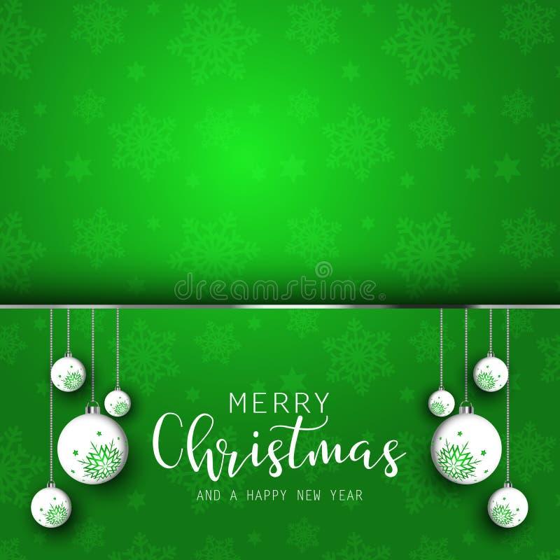 De achtergrond van Kerstmis met het hangen van snuisterijen royalty-vrije illustratie