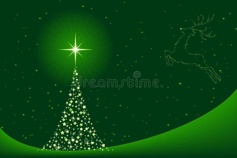 De achtergrond van Kerstmis met Kerstboom en reind royalty-vrije illustratie