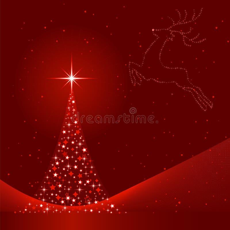 De achtergrond van Kerstmis met Kerstboom en rendier vector illustratie