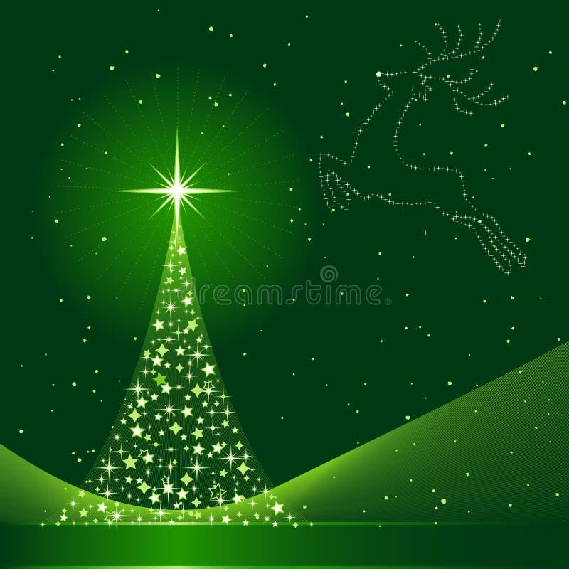 De achtergrond van Kerstmis met Kerstboom en rendier stock illustratie