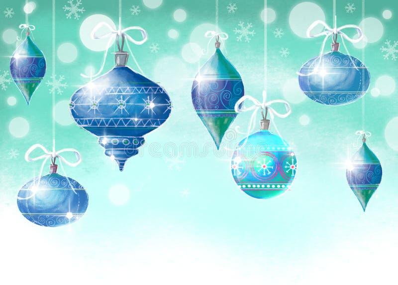 De achtergrond van Kerstmis met Kerstmisballen stock illustratie