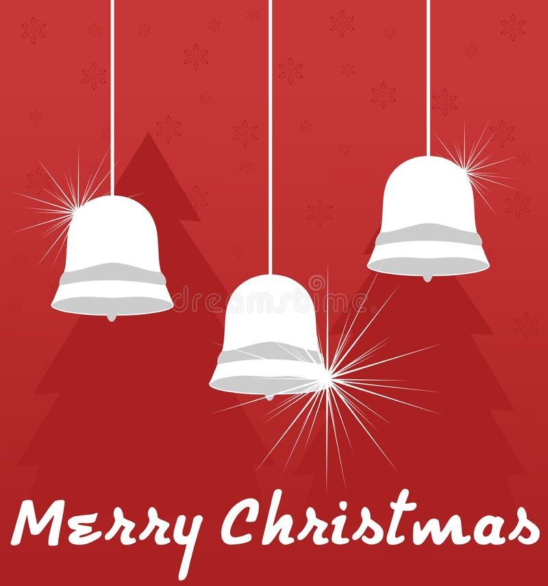 De achtergrond van Kerstmis met klokken ROOD EN WIT Kerstmis royalty-vrije illustratie