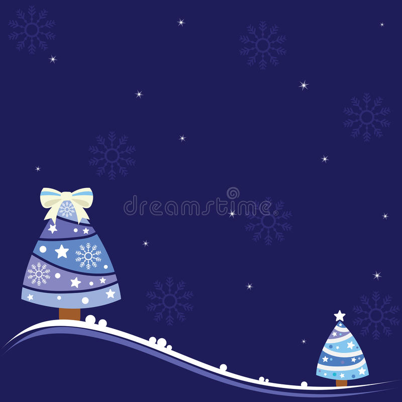 De achtergrond van Kerstmis met mooie bomen, sneeuwvlokken en glanzende sterren. vector illustratie