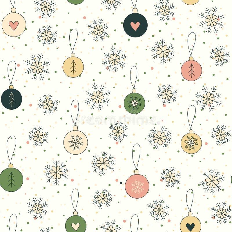 De achtergrond van Kerstmis met sneeuwvlokken en ballen vector illustratie