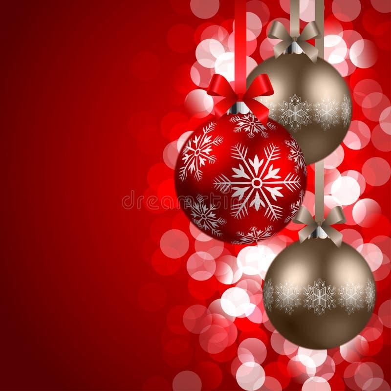 De achtergrond van Kerstmis met snuisterijen royalty-vrije illustratie