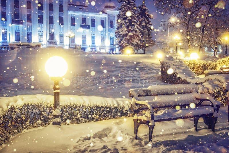 De achtergrond van Kerstmis Nachtscène van magische stad op Kerstmis Dalende sneeuwvlokken in nachtpark voor nieuw jaar stock foto