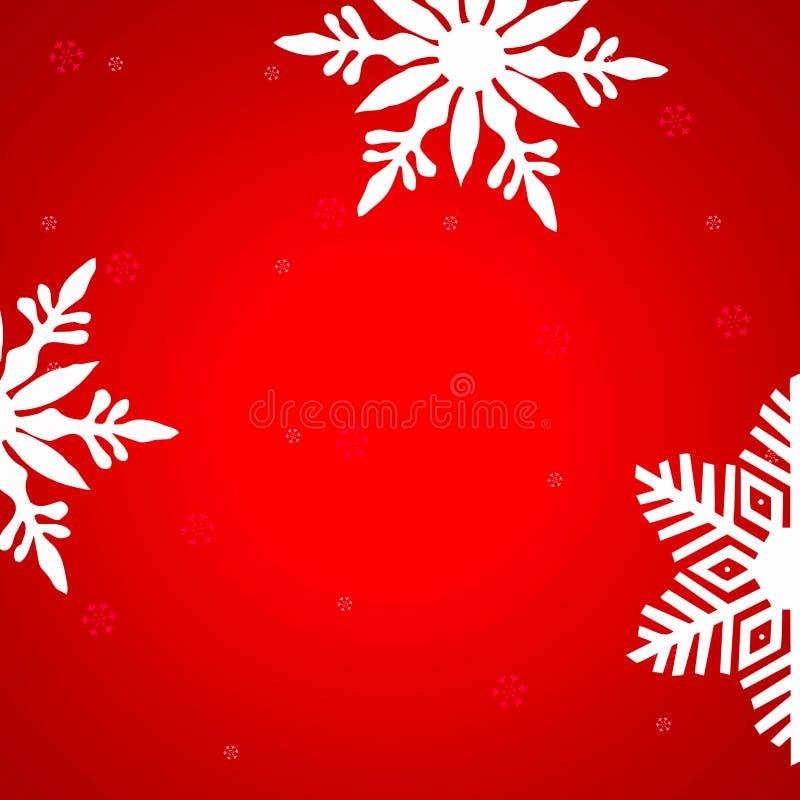 De achtergrond van Kerstmis Rode achtergrond met sneeuwvlokken stock fotografie
