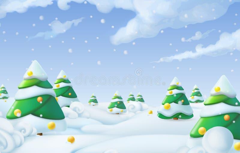 De achtergrond van Kerstmis De vectorillustratie van het de winterlandschap vector illustratie