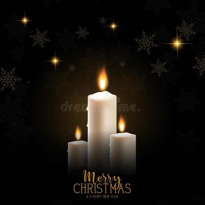 De achtergrond van de Kerstmiskaars met sneeuwvlokken en sterren vector illustratie