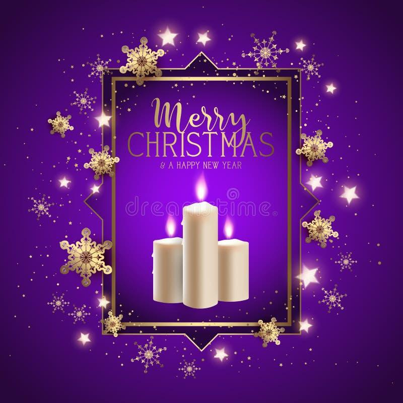 De achtergrond van de Kerstmiskaars met sneeuwvlokkenontwerp vector illustratie