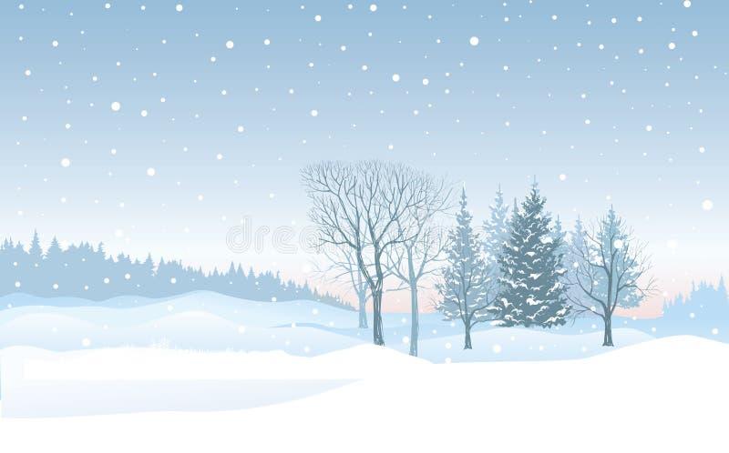 De achtergrond van de Kerstmissneeuwval Het landschap van de sneeuwwinter Vrolijke Chri stock illustratie