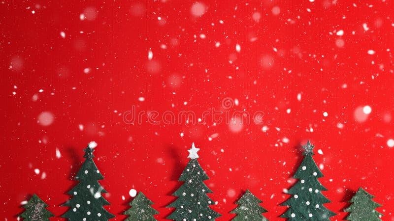 De achtergrond van de Kerstmisvakantie met Kerstman en decoratie Kerstmislandschap met giften en sneeuw Vrolijke Kerstmis en gelu stock afbeeldingen