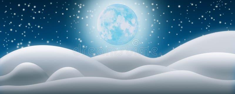 De achtergrond van de kerstnacht De de Sneeuwgebieden, Volle maan en Starr vector illustratie