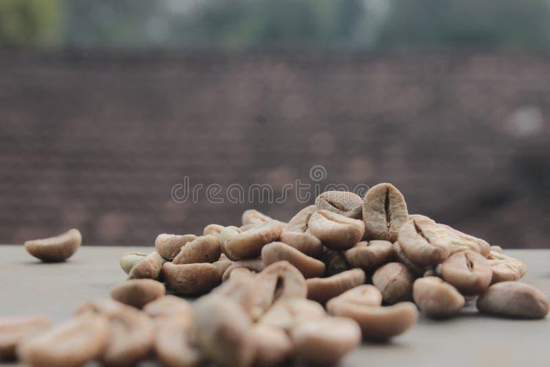 De achtergrond van koffiebonen met nadruk op koffie stock fotografie