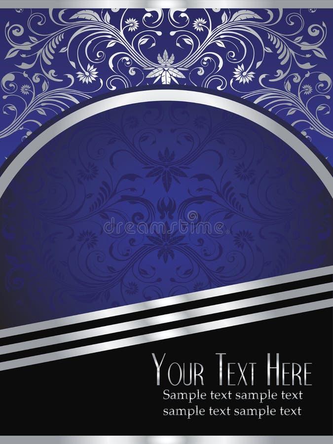 De Achtergrond van koningsblauwen met Overladen Zilveren Blad royalty-vrije illustratie