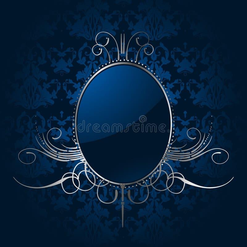 De achtergrond van koningsblauwen met zilveren frame. Vector royalty-vrije illustratie