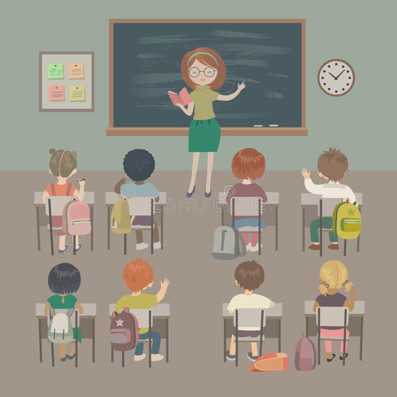 De achtergrond van de lerarendag De les van de school Kleine studenten en een leraar in een klaslokaal vector illustratie