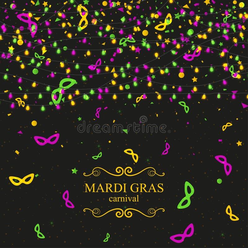 De achtergrond van Mardi Gras Carnaval met lichte lampenslingers royalty-vrije illustratie