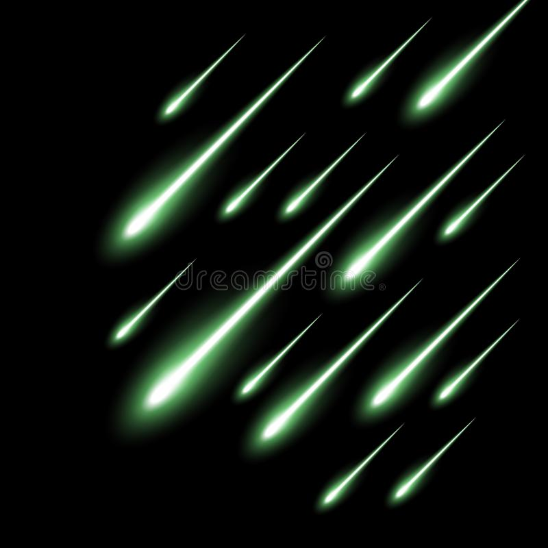 De achtergrond van de meteoorregen, groene kleur royalty-vrije illustratie