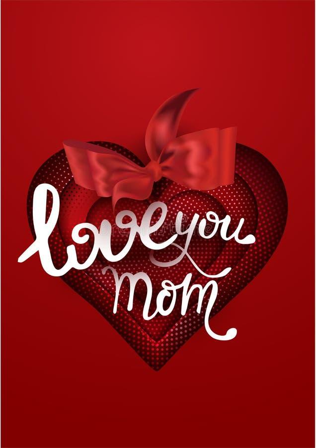 De achtergrond van de moedersdag met rood halftinteffect geweven hart en rode boog vector illustratie