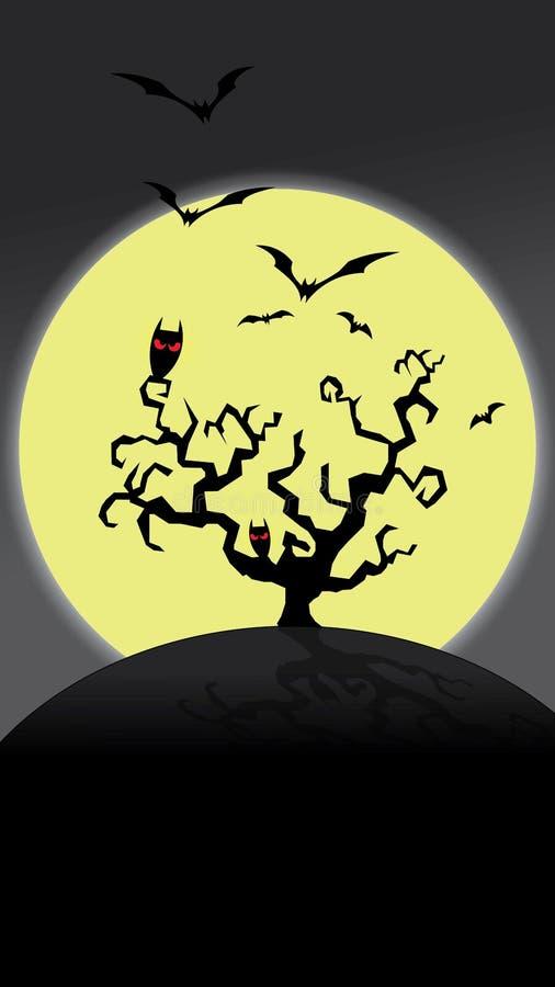 De achtergrond van nachthalloween met volle maan en knuppels vector illustratie