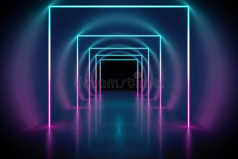 de achtergrond van de neonlichtentunnel stock illustratie