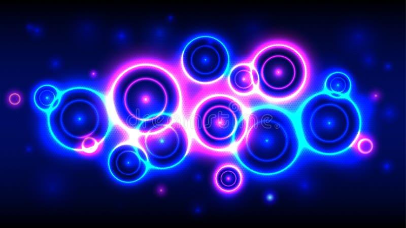 De achtergrond van de neonpartij, vat veelkleurige heldere cirkels samen als achtergrond vector illustratie