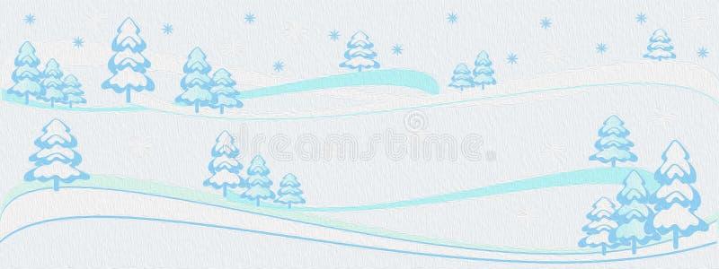De achtergrond van de olieverfschilderijwinter, de banner van de winterbomen, Vrolijke Kerstmis, nieuwe jaarboom stock illustratie