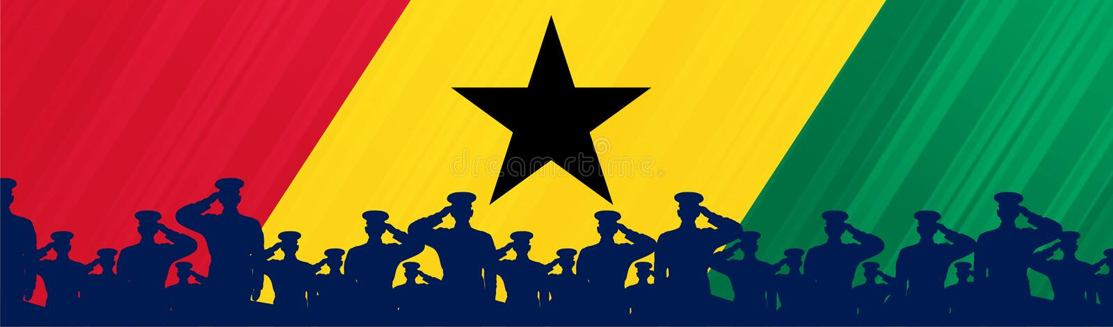 De achtergrond van de de Onafhankelijkheidsdag van Ghana in het nationale thema van de vlagkleur Vector illustratie stock illustratie