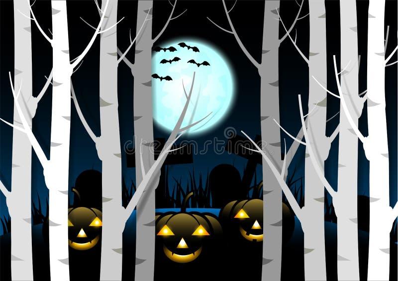 De achtergrond van ontwerphalloween Griezelige pompoen met maan en donker bos bij kerkhof stock illustratie