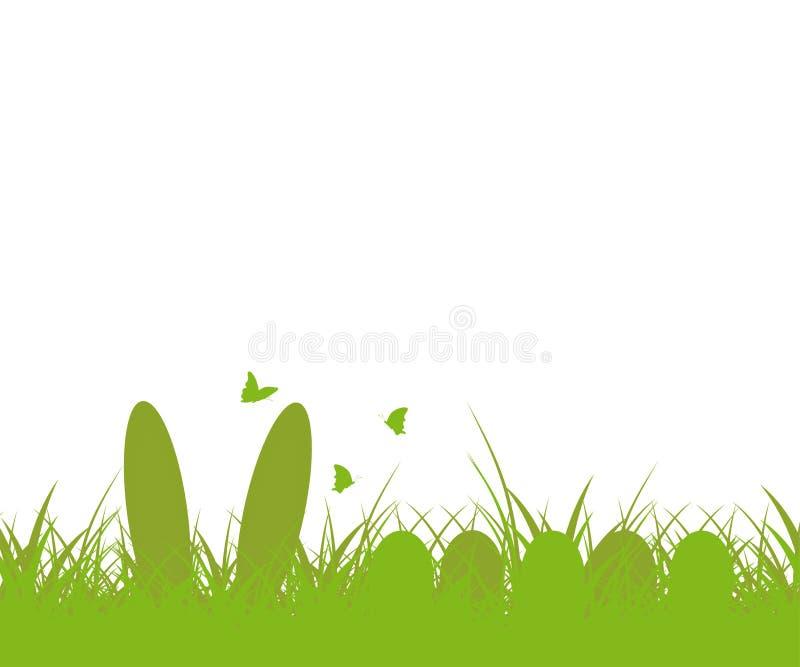 De achtergrond van Pasen Groen gras en paasei, en konijntje, vlinder Paashaasoren in het gras Vector royalty-vrije illustratie
