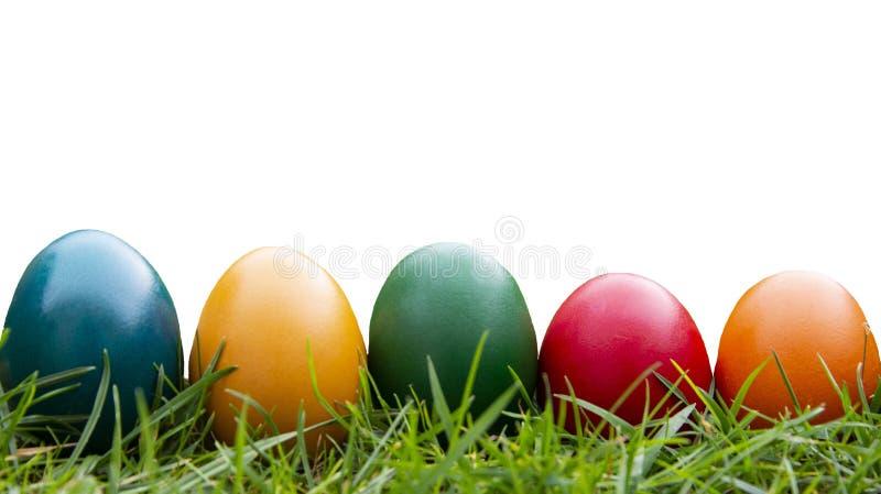 De achtergrond van Pasen Kleurrijke geïsoleerde eieren en groen gras Witte achtergrond voor exemplaarruimte royalty-vrije stock foto