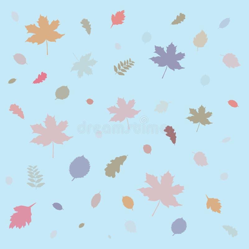 De achtergrond van patroonbladeren Vlak vectorillustratiemalplaatje Het seizoenconcept van de herfst Handen die rode handschoenen vector illustratie